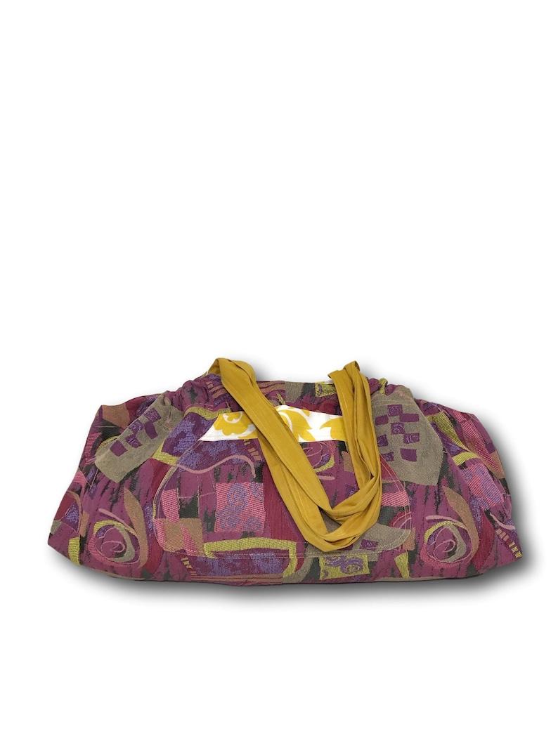 Yellow Print and Fun Colored Graphics Reversible Yoga Mat Tote Bag Gym Bag Extra Large Beach Bag YogaTote by Rebecca Yarbrough OOAK Tennis