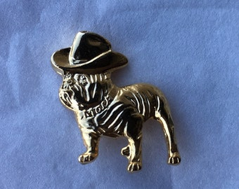 Mack Truck Bull Dog with Military Cap Tie Lapel Pin Brass Color NEW