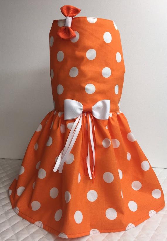 dd01a006e Orange Polka Dot Dog Dress Cat Dress Dog Dress Dog