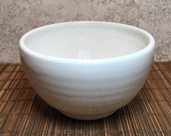 White Bowl - Medium Handmade Stoneware Bowl - Ceramic Bowl - Cereal Bowl - Salad Bowl - Serving Bowl - White Stoneware Bowl -Hand Made Bowl