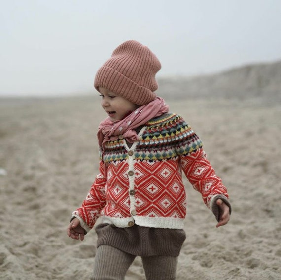 Original Fair isle Cardigan Handmade Knitwear for Girls