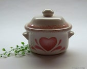 Covered Soup Crock, Stoneware Soup Bowl with Lid, Pink Sponge Painted Heart, Farmhouse Decor, Country Trinket Dish