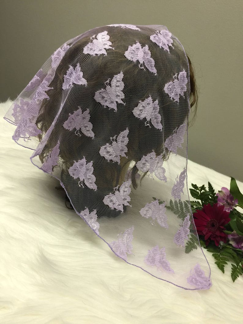 Lavender butterfly Lace Headcovering Church or Chapel  Scarf Veil Mantilla
