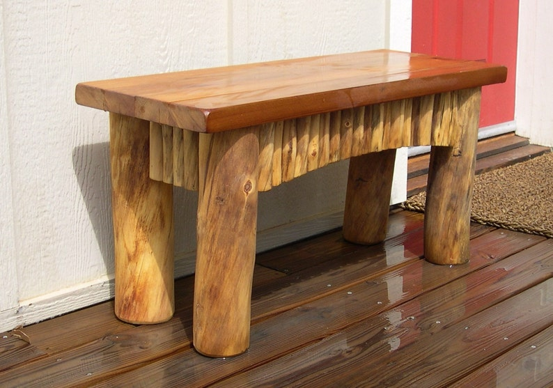 Rustic Wood Bench Farmhouse Bench Porch Bench Bench Seat Decorative Bench Rustic Bench Log Cabin Decor Made to Order