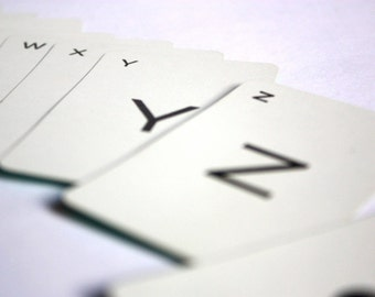 Vintage Alphabet Cards - Game Pieces, dark green back, 25 random pieces