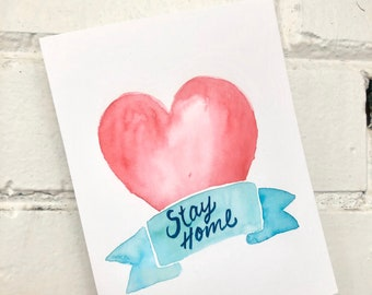 Original watercolor 'Stay Home' pink and blue tattoo heart and banner