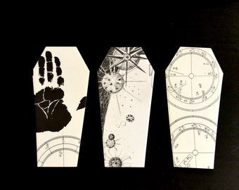 Coffin cutouts mixed paper, original, vintage, magick, craft