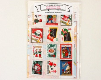 Christmas Stickers - made from vintage holiday seals