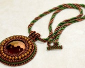 Vintage Glass Pendant Necklace Copper and Green