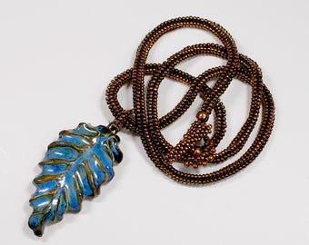 Delicate Beadwoven Necklace with Glazed Ceramic Leaf