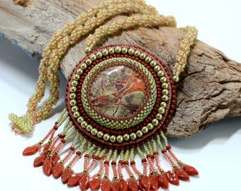 Autumn Colors Necklace Agate Stone Olive green and burnt orange