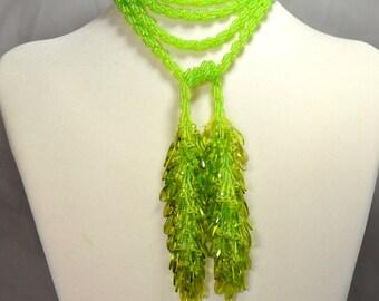 Light Peridot Green Lariat Necklace Beadwoven Fringe Extra Long