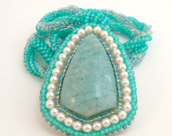 Seafoam Aqua Blue Necklace Pearls Amazonite Gemstone