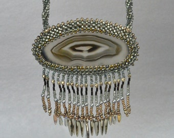 Beaded Necklace Smokey Agate Grey Cloud Silver Linings