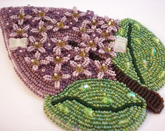 Spring Lilac Bead Embroidered Brooch Corsage