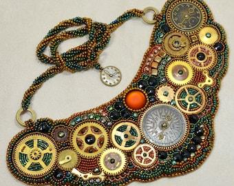 Clockwork Gears Steampunk Style Statement Bib Necklace