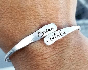 Sterling Silver Hammered Wrap Bracelet . Christmas Gift for Her . Wrap Style Bracelet . Personalized Bracelet . Mothers Day Gift