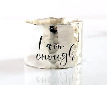 """I Am Enough Ring . 1/2"""" Sterling Silver Adjustable I am Enough .925 Ring . Wide Silver Band Thumb Ring . Gift for Her . TatumBradleyCo"""