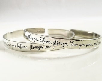 You are Braver than you Believe, Stronger than you Seem, Smarter than you Think . Gift for Daughter . Tatum Bradley . Sterling Silver