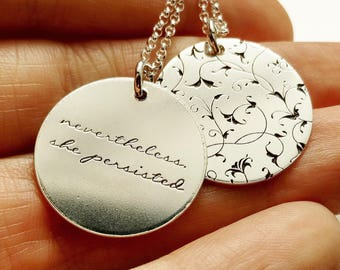Nevertheless She Persisted Necklace *Customizable* . Sterling Silver Floral Necklace . Tatum Bradley & Co