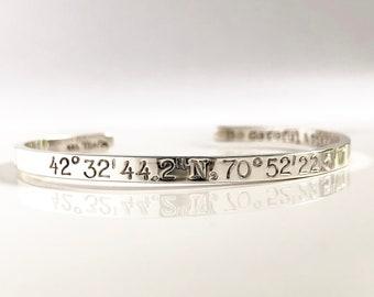 "6""-7"" Sterling Silver Coordinates Cuff Bracelet . Latitude and Longitude Bracelet . Anniversary Gift . Mens Silver Coordinates Bracelet"