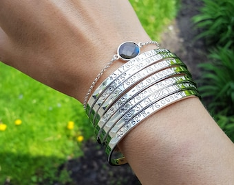 Solid Sterling Silver Coordinates Cuff Bracelet . Going Away Gift . High School Graduation Gift for Her . Tatumbradleyco