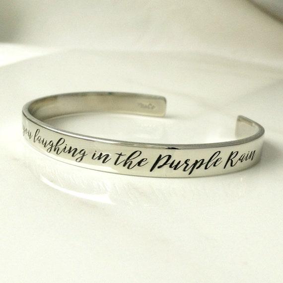 Purple rain bracelet prince jewelry engraved prince lyric etsy image 0 stopboris Images