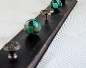 Handmade Teal and Brown Necklace Jewelry Organizer
