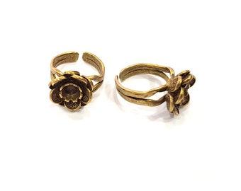 Rose Ring Blank Ring Setting Bezel Base Cabochon Mountings (6mm Blank) Antique Bronze Plated Brass G15579