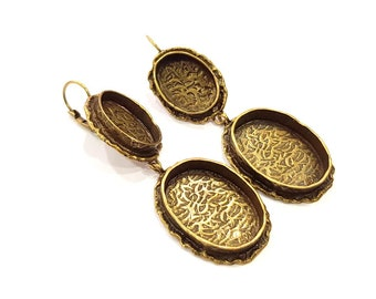 Earring Blank Backs Antique Bronze Resin Base inlay Cabochon Mountings Antique Bronze Plated Brass (25x18+18x13mm blank)  1 pair G15581