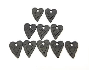 Qty 6 Jet Black Heart Charms Earring Findings 9mm Brass Loop Made in Germany