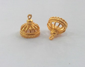 2 Gold Charms Gold Plated Brass   G612