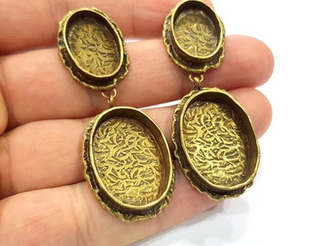 Earring Blank Backs Antique Bronze Resin Base inlay Cabochon Mountings Antique Bronze Plated Brass (25x18+18x13mm blank)  1 pair G15574