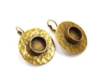Earring Blank Backs Antique Bronze Resin Base inlay Cabochon Mountings Setting Antique Bronze Plated Brass (10mm blank) 1 pair G15580