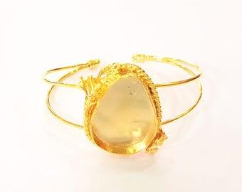 Bracelet Blanks Bangle Blanks Cuff Blanks Adjustable Bracelet Blank Gold Plated Brass (25x18mm Blanks ) G7639