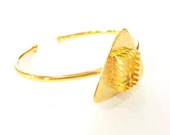 Bracelet Blanks Bangle Blanks Cuff Blanks Adjustable Bracelet Blank Gold Plated Brass (14x10mm rectangle Blanks ) G7626