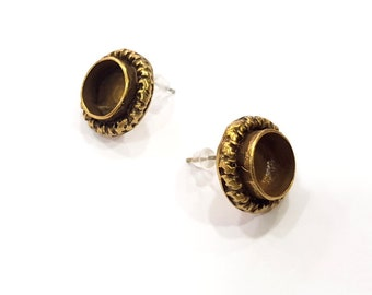 Earring Blank Backs Antique Bronze Resin Base inlay Cabochon Mountings Setting Antique Bronze Plated Brass (10mm blank) 1 pair G15575