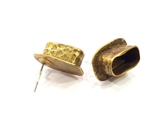 Earring Blank Backs Antique Bronze Resin Base inlay Cabochon Mountings Setting Antique Bronze Plated Brass (14x6mm blank) 1 pair G15572