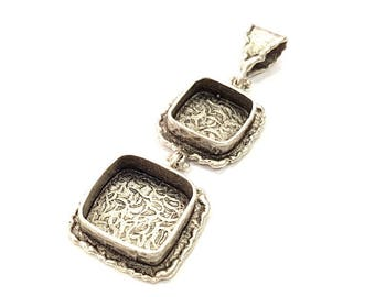 Silver Pendant Blank Resin Blank Mosaic Base Blank inlay Blank Necklace Blank Mountings Antique Silver Plated Brass (70x22mm )  G9709