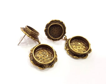 Earring Blank Backs Antique Bronze Resin Base inlay Cabochon Mountings Antique Bronze Plated Brass (14+10mm blank)  1 pair G15571