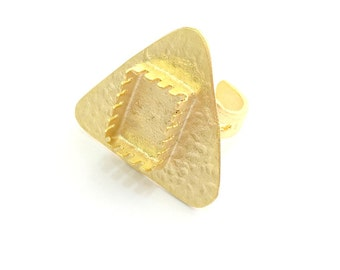 Adjustable Hammered Ring Blank, (15x10mm blank )  Gold Plated Brass G6079