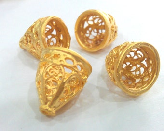 10 Gold Plated Cone Findings Gold Plated Brass  10 Pcs (14x12 mm)  G9442