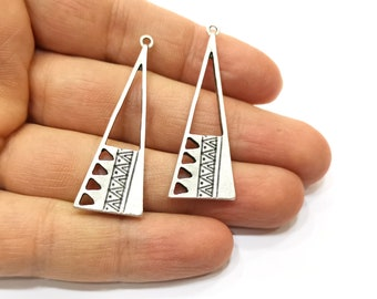 2 Silver Charms Antique Silver Plated Charms (48x16mm)  G18259