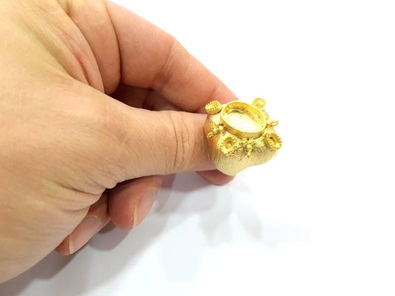 Gold Plated Brass G10341 14x10mm and 5x3mm blank Gold Ring Blank Ring Settings Ring Bezel Base Cabochon Mountings Adjustable