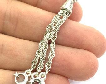 Antique Silver Plated  Tassel  Pendant (62mm)   G4727