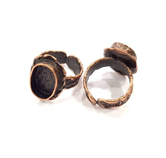 10mm blank Antique Copper Plated Brass G19622 Copper Ring Blank inlay Ring Blank Mosaic Ring Bezel Base Settings Cabochon Mountings