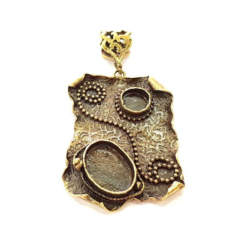 49x37mm Antique Bronze Pendant Blank inlay Blank Mosaic Blank Resin Blank Bezel Base Setting Mountings Antique Bronze Plated Brass G8765