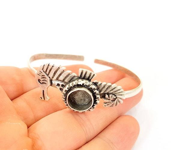 40mm Blanks Bracelet Blanks  Cuff Blanks Adjustable Bracelet Blank Antique Silver Plated Brass G15415
