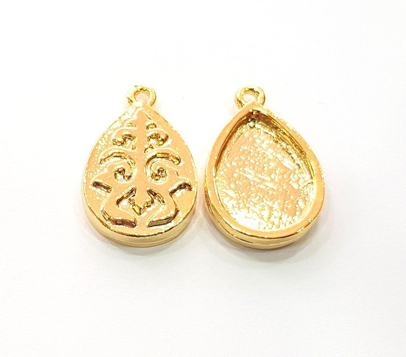 2 Gold Pendant Blank Base Setting Necklace Blank Resin Blank Mountings inlay Blank Shiny Gold Plated Blank G12507 18x13 mm blank
