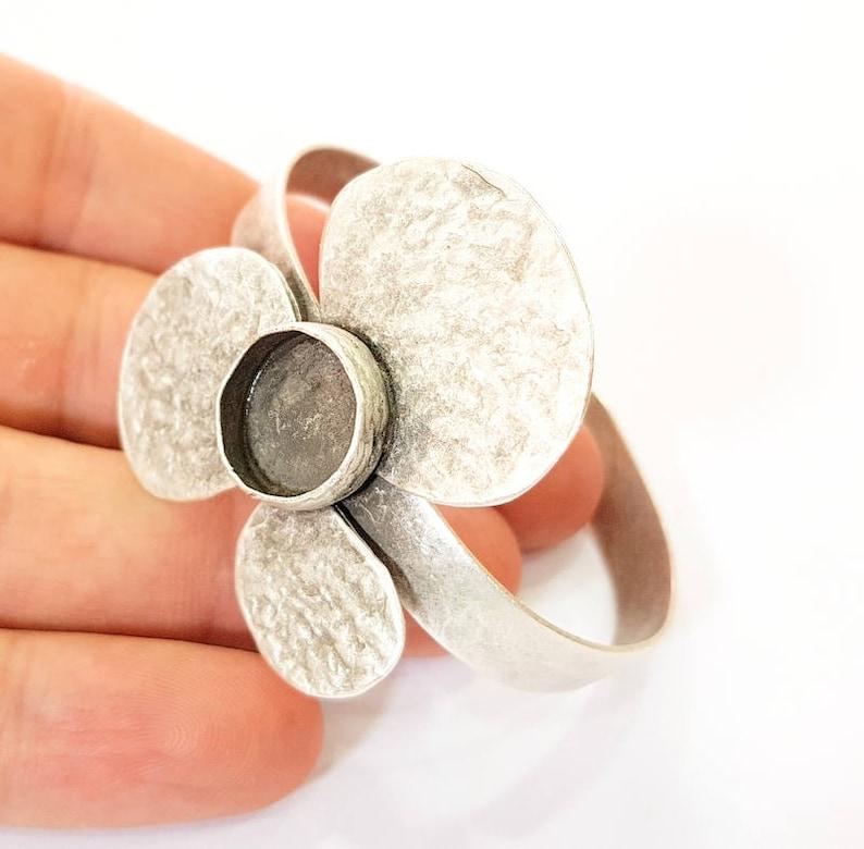 G7612 12mm Blanks Bracelet Blanks Cuff Blanks Adjustable Antique Silver Plated Brass